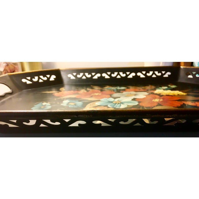 Vintage Black & Floral Serving Tray - Image 4 of 4