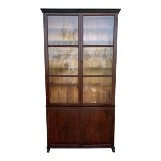 Spanish Large Pine Cupboard or Bookcase With Glass Vitrine, 19th Century For Sale