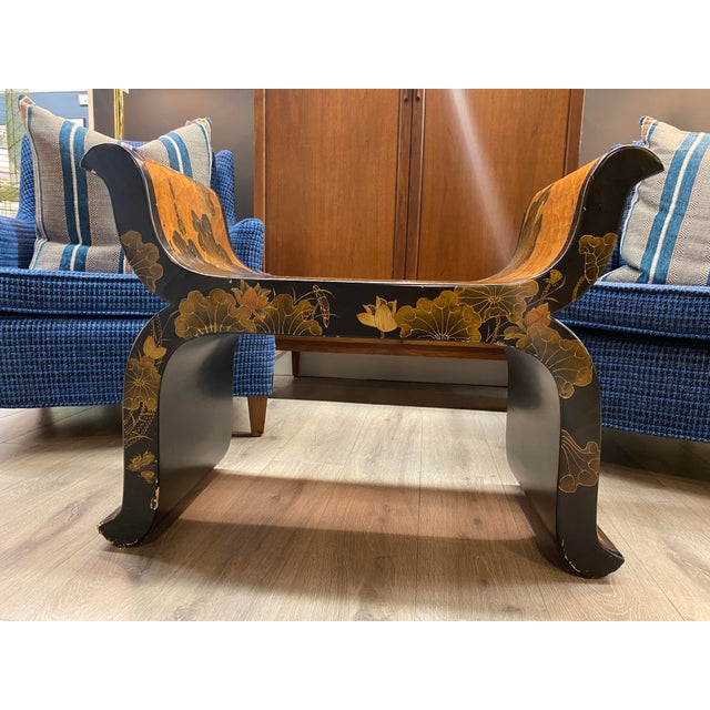Mid-Century Modern Antique Hand Painted Asian Bench For Sale - Image 3 of 13