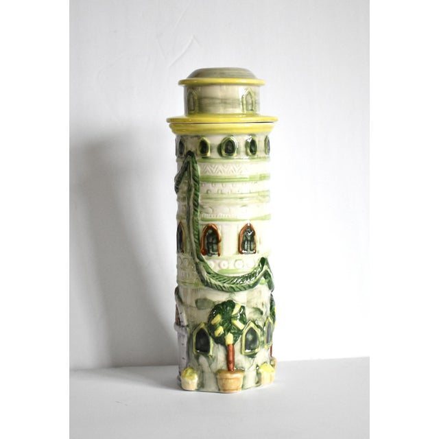 Mid 20th Century Vintage Italian Trompe l'Oeil Castle Pasta Canister For Sale - Image 5 of 9