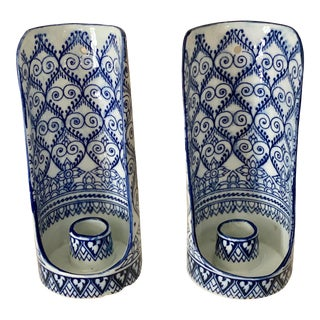 Blue and White Ceramic Wall Candle Sconces - a Pair For Sale