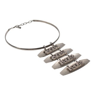 Mid Century Space Age Stainless Steel Modernist Dog Collar Necklace For Sale
