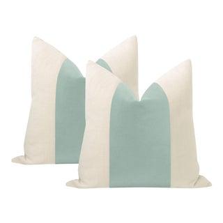 """22"""" Sea Blue Italian Velvet Panel & Linen Pillows - a Pair For Sale"""