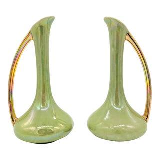 Hollywood Regency Green & Gold Porcelain Bud Vases - A Pair