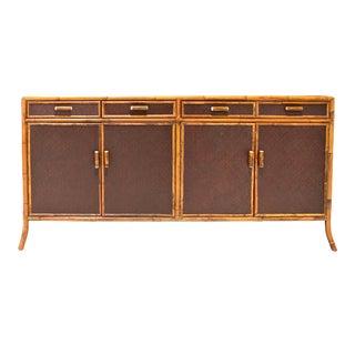 Vintage Pierce Martin Co. Chelsea Bamboo & Raffia Bound Credenza For Sale
