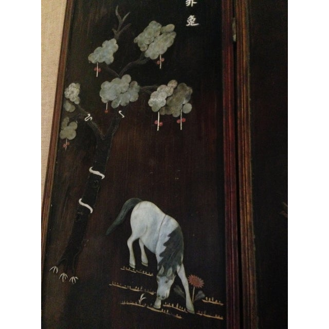 Old Asian Three Panel Screen With Jade and Ivory - Image 5 of 7