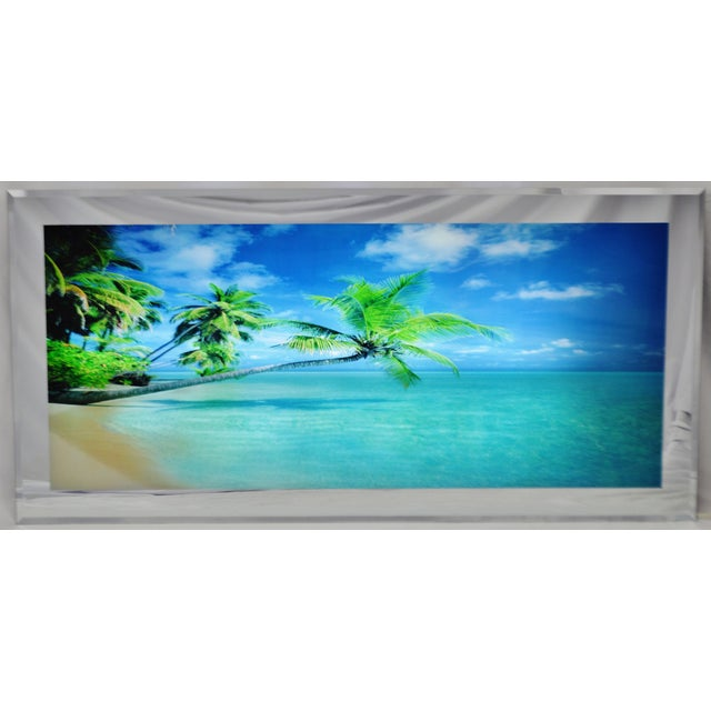 Large Illuminated Ocean Beach Scene Motion Wall Art W/ Sound | Chairish