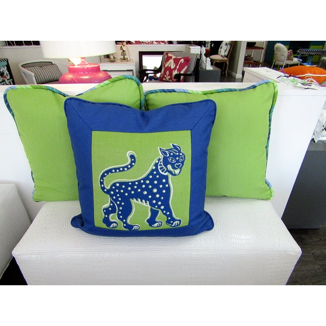 Textile Custom Made Lime and Periwinkle Pillows - Set of 3 For Sale - Image 7 of 7