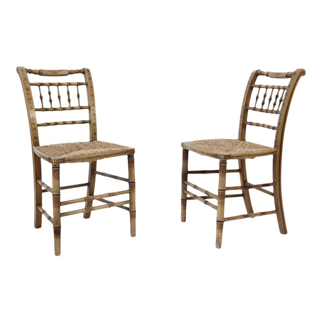 Pair of Faux Bamboo Side Chairs For Sale