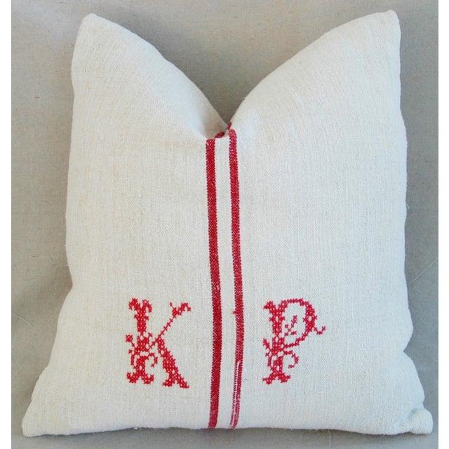 French Grain Sack Monogram Pillow - Image 2 of 7