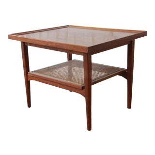 Kipp Stewart for Drexel Declaration Mid-Century Walnut and Cane Side Table For Sale