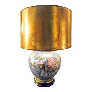 Rare Frederick Cooper Brass Inlayed Blue Pearlized Elephant Table Lamp W/ Gold Shade For Sale