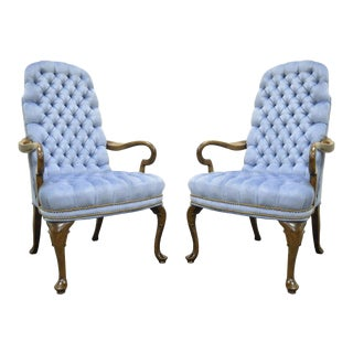 Pair Vintage Queen Anne Ethan Allen Blue Tufted Library Office Lounge Arm Chairs For Sale
