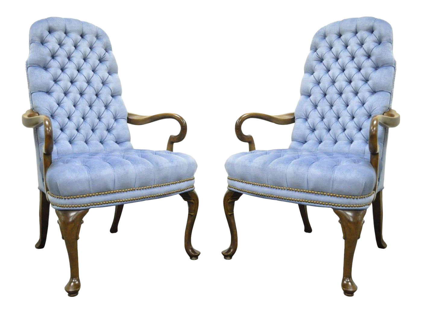 Beau Pair Vintage Queen Anne Ethan Allen Blue Tufted Library Office Lounge Arm  Chairs