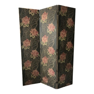 Vintage Floral Folding Privacy Screen For Sale