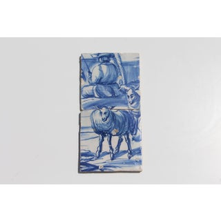 18th Century, Portuguese Baroque, Earthenware Fisherman and Two Sheep Tiles - a Pair Preview