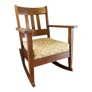 Craftsman Style Tiger Oak Rocking Chair For Sale