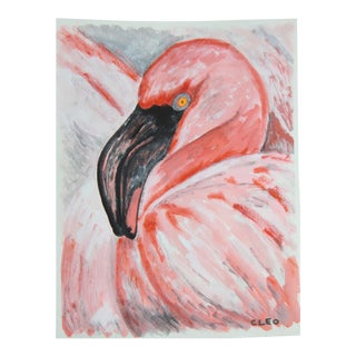 Pink Flamingo Impressionist Painting by Cleo For Sale