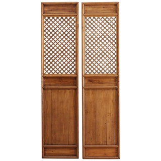 Pair of Chinese Carved Elm Lattice Door Panels For Sale