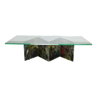 Paul Evans for Directional Zig-Zag Brutaist Metal Coffee Table