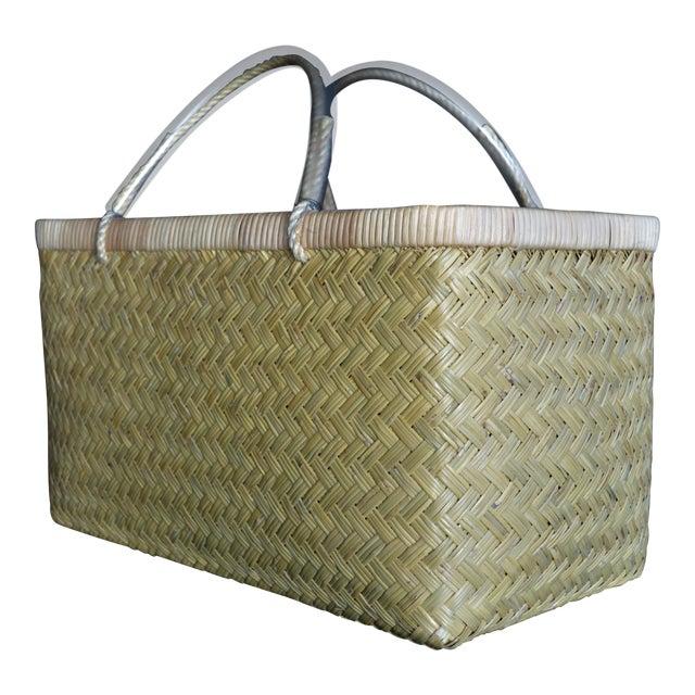 Japanese Tsukiji Fish Market Bamboo Basket Large Woven Handle Antique Vintage Asian For Sale