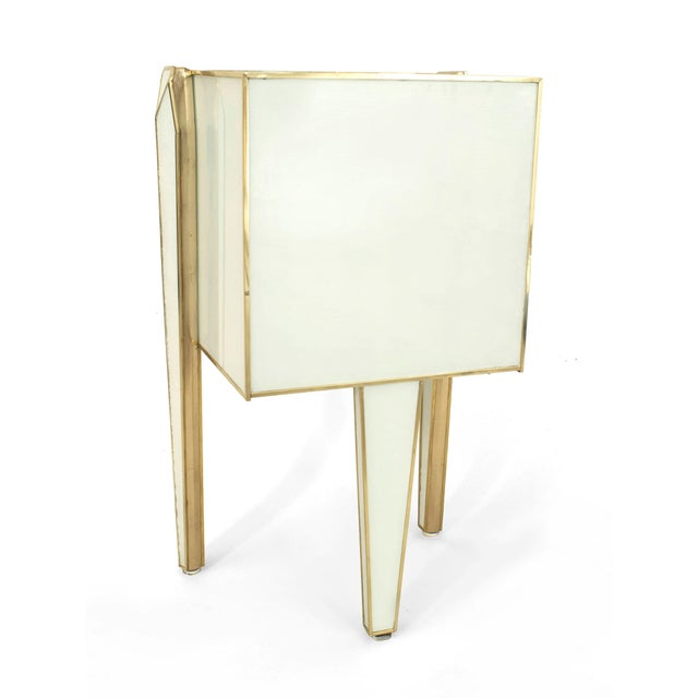 Pair of Limited Edition Giltwood With White Glass and Brass Side Commodes For Sale In New York - Image 6 of 8
