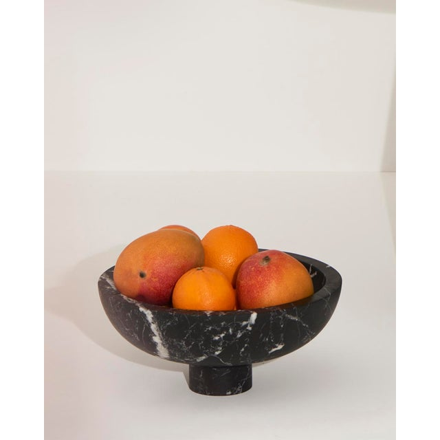 Blue Modern Handcrafted Fruit Bowl in Italian Marble by Karen Chekerdjian For Sale - Image 8 of 10