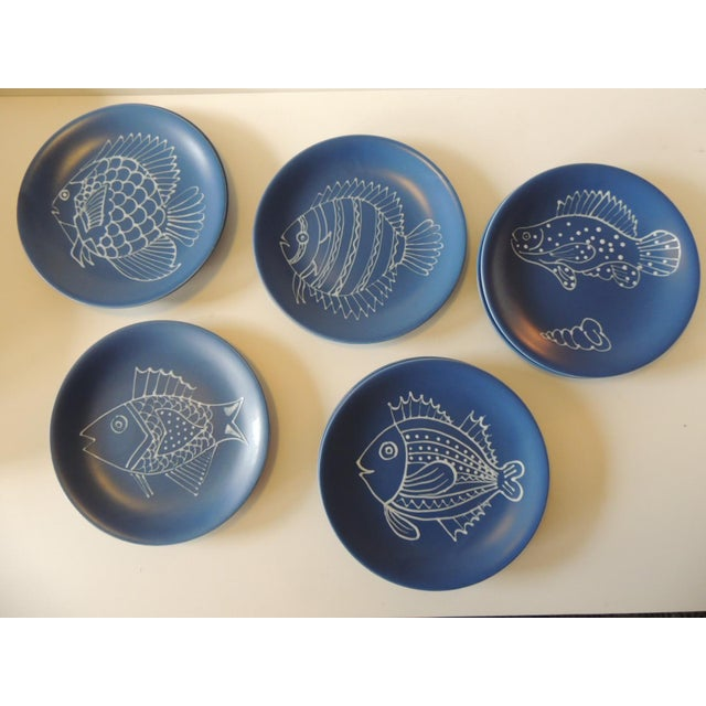 Longchamps Set of (8) Blue and White Fish Plates by Longchamp For Sale - Image 4 of 9