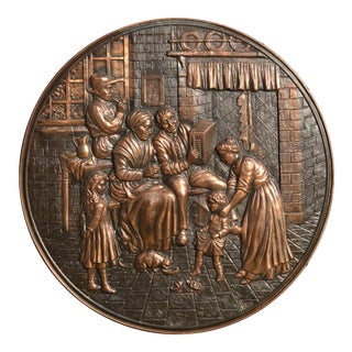 Embossed Copper Repousse Plaque - Family Hearth Scene Mid-20th Century For Sale