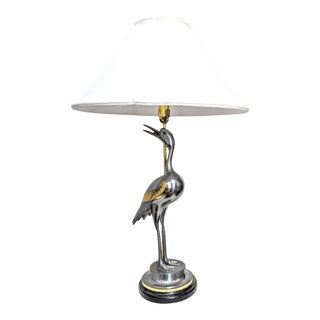 Mid Century Modern La Barge Pewter and Brass Crane Bird Lamp For Sale