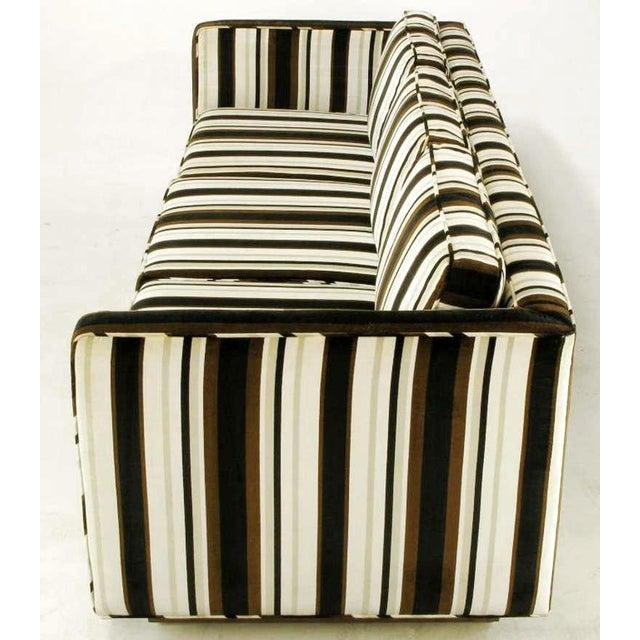 Mid-Century Modern Marden Even-Arm Striped Velvet Tuxedo Sofa For Sale - Image 3 of 8