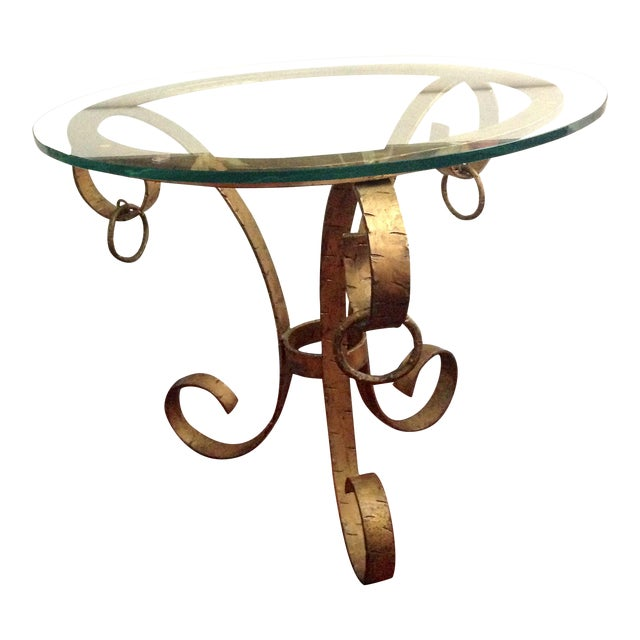 1970s Hollywood Regency Gilt Iron Scroll Base Glass Top Table For Sale