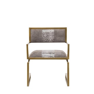 Contemporary Snake Skin Embossed Gray Leather Arm Chair