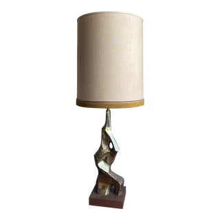 Brass Brutalist Table Lamp For Sale