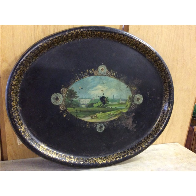 Shabby Chic Black Antique Tole Tray - Image 3 of 4