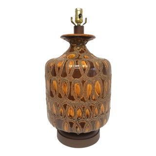 1960s Large Mid Century Brown and Gold Ceramic Table Lamp For Sale