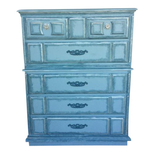 Turquoise Hand Painted Dresser - Image 1 of 3