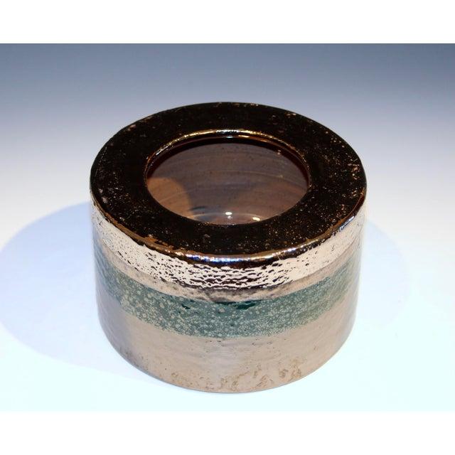 Italian Vintage Bitossi Londi Raymor Metallic Vase For Sale - Image 3 of 11