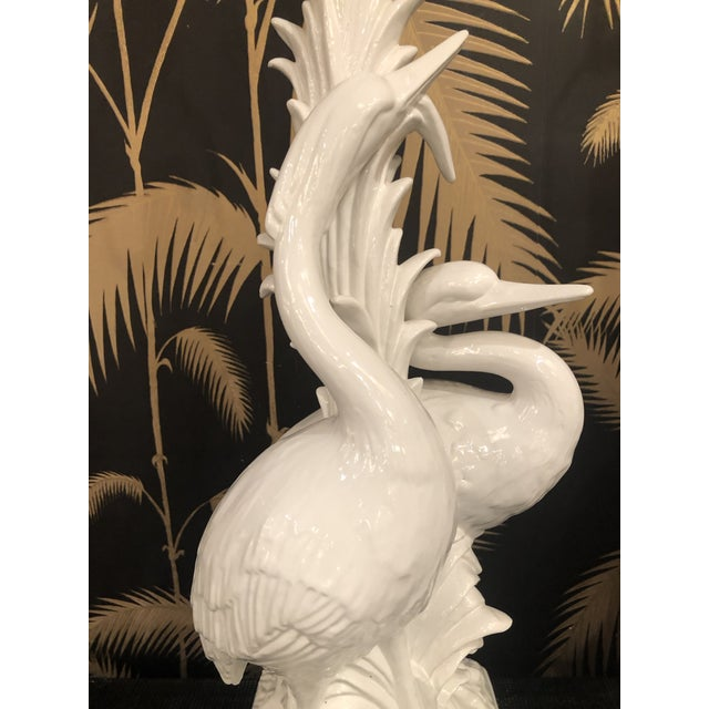 Vintage Hollywood Regency Tropical White Ceramic Heron Bird Table Lamps - a Pair For Sale In West Palm - Image 6 of 13