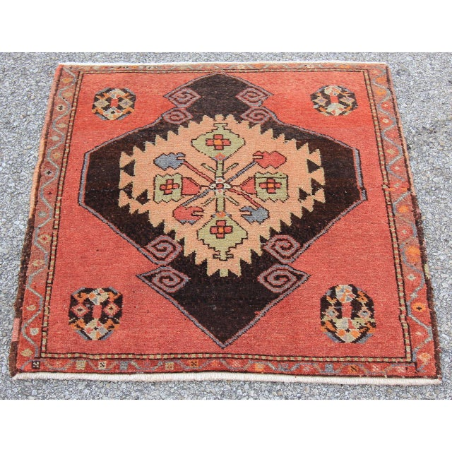 Mid-20th C. Vintage Antique Tribal Oushak Hand Knotted Turkish Rug - 2'5 X 2'4 - Image 3 of 5