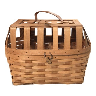 Peterboro Pet Carrier Basket With Leather Handle and Post Piece For Sale