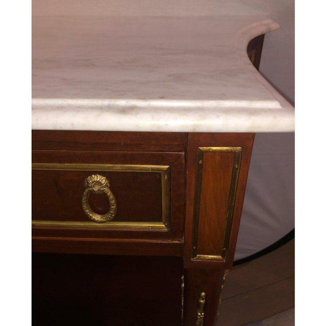 Metal Pair Marble Top Russian Neoclassical Consoles W Concave Sides & Bronze Mounts For Sale - Image 7 of 12