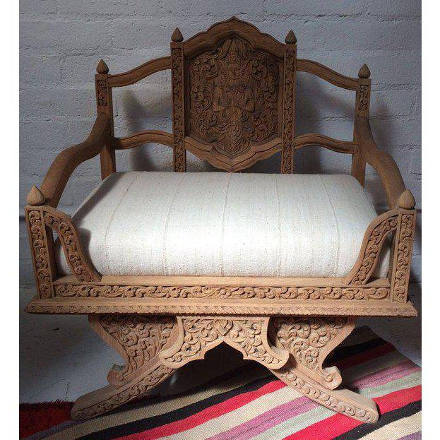 Antique Carved Wooden Elephant Saddle Chair With Hand Woven Textile Cushion For Sale - Image 11 of 11