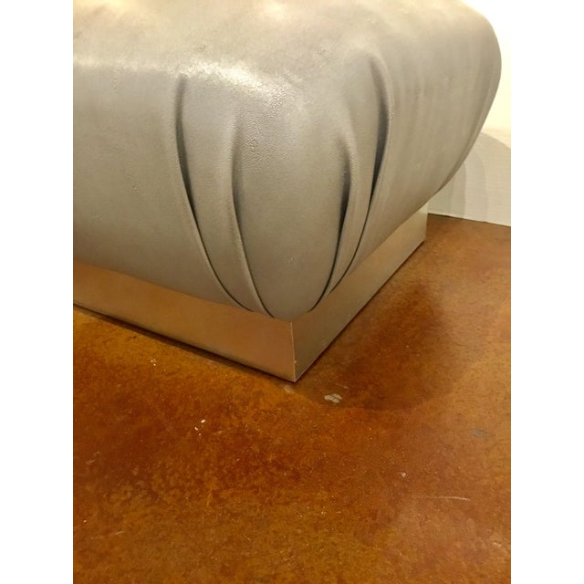 2010s Worlds Away Modern Gray Faux Shagreen Sydney Ottoman For Sale - Image 5 of 6