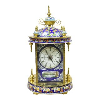 20th Century Chinese Cloisonne French Style Enamel Mantle Clock For Sale