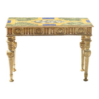 18th C. Italian Giltwood and Faux Painted Marble Top Console For Sale