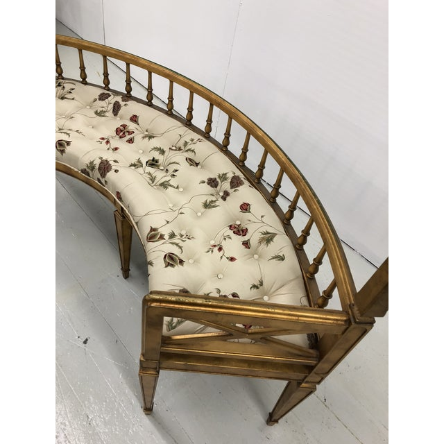 Hollywood Regency Curved Gilt Wood Settee For Sale - Image 9 of 10