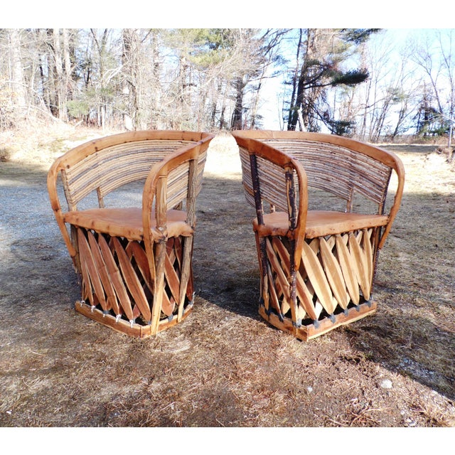 Vintage Mexican Equipale 2 Leather Barrel Chairs & Table Patio Café Dining Set For Sale In Providence - Image 6 of 11