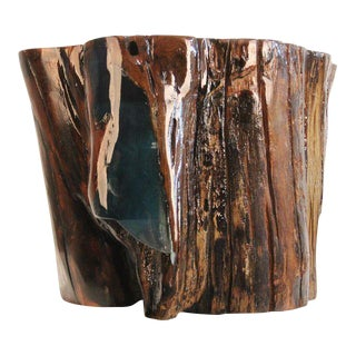 Contemporary Verdant Cove Resin and Wood Side Table For Sale