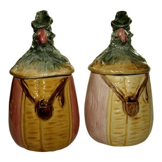 Majolica Tobacco Jars - a Pair For Sale